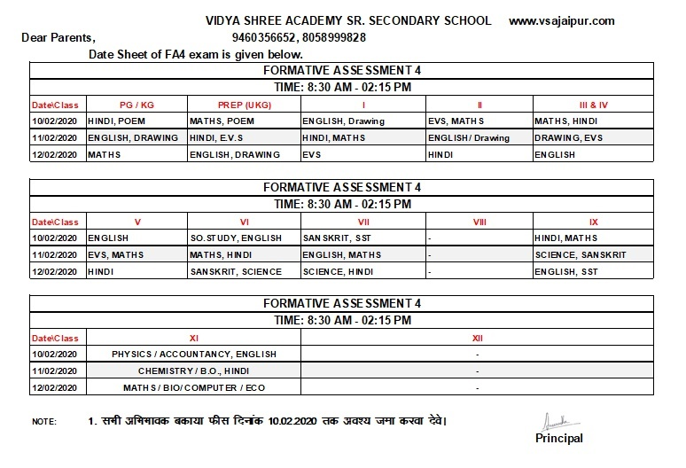Date Sheet for FA4 Exams